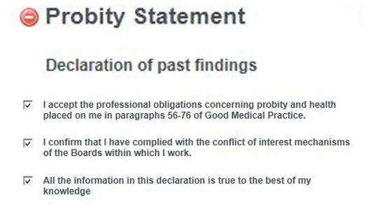 Probity statement SOAR Appraisal (Jan 2014)
