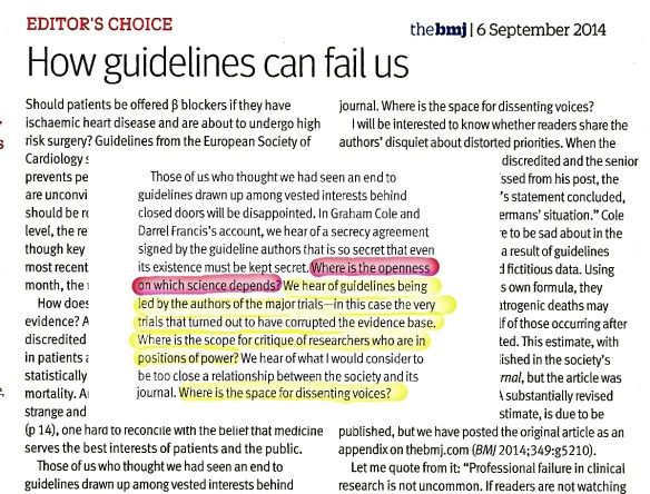 How guidelines can fail us.Sept 2014 BMJ Editor