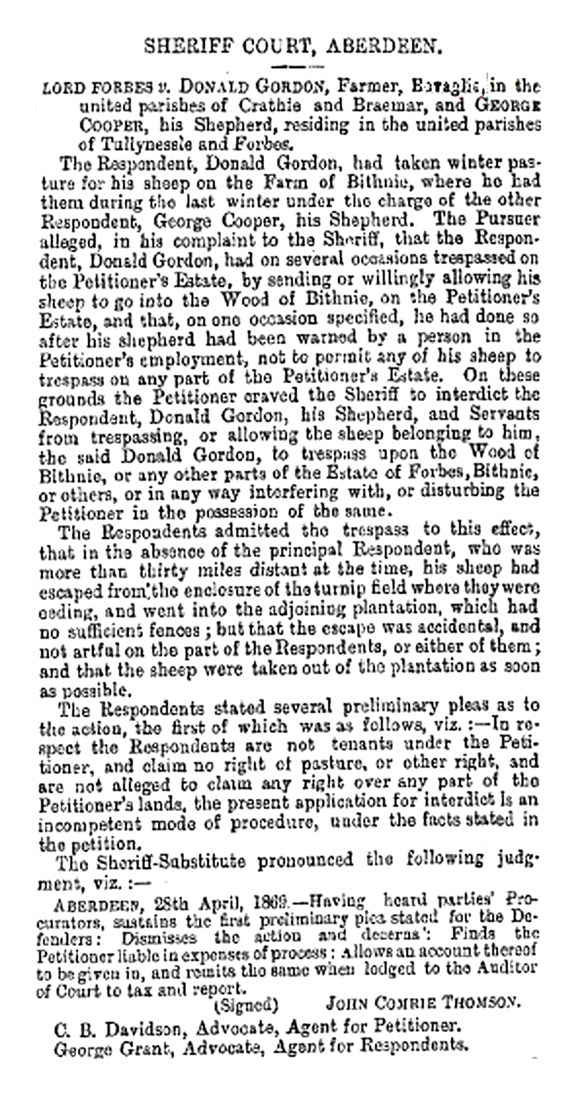 May 19, 1869 Prodeegus vs Lord Forbes