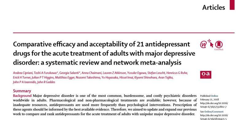 Lancet study on antidepressants, Feb 2018 - title