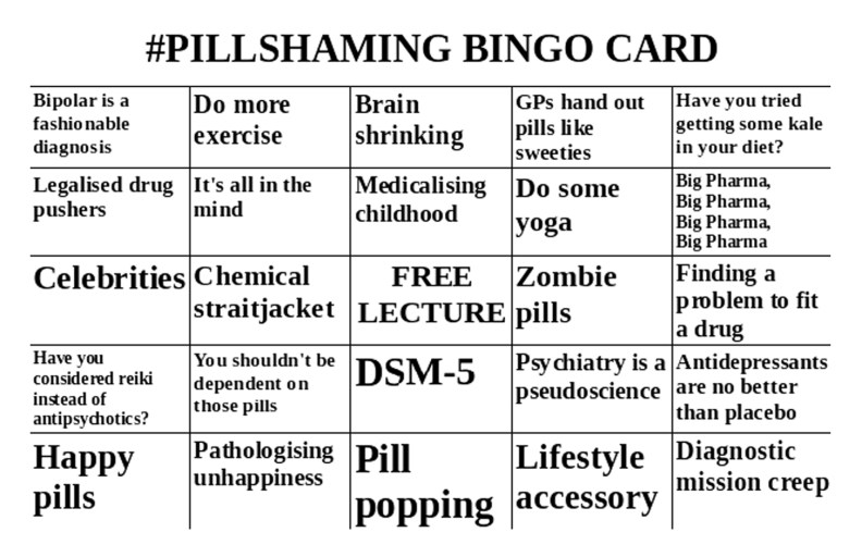 Pill-Shaming Bingo card