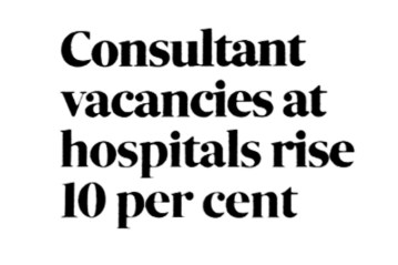 NHS Consultant vacancies up ten percent - December 2017