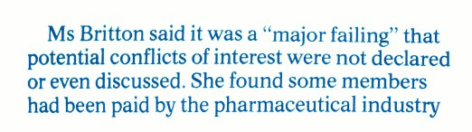 Mesh - 'major failing' conflicts of interest and pharmaceutical industry - 26 Oct 2018