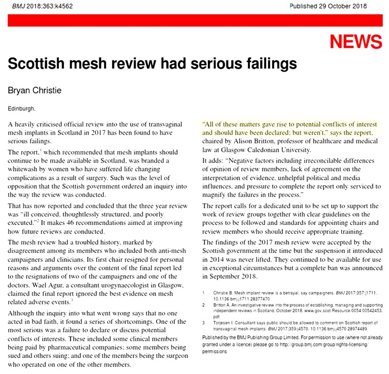 Scottish mesh review had serious failings - Oct 2018, BMJ