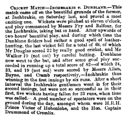 Cricket match at Inchbrakie, Sept 1866