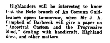 12 Nov 1908 J A Campbell of Barbreck