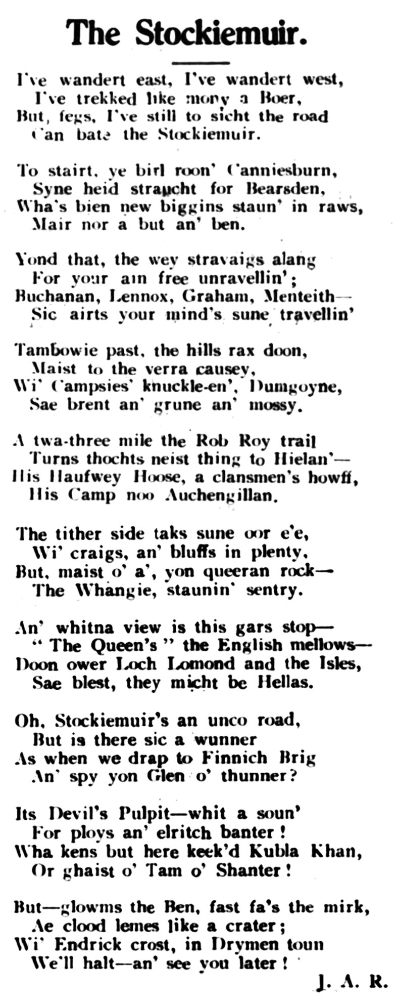Poem - The Stockiemuir - 1938