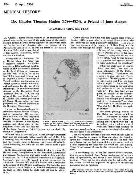 Dr Charles Thomas Haden and Jane Austen, BMJ