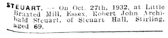 27 October 1932 Archibald Steuart dies in Essex - Copy - Copy