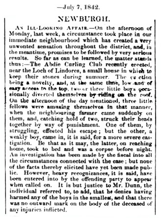 7 July 1842 Abdie curling house - a boy's death
