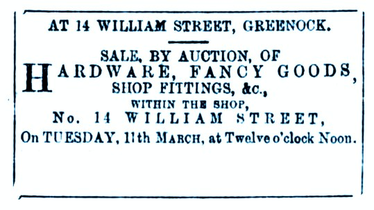 8 March 1884 14 Will iam Street, Greenock