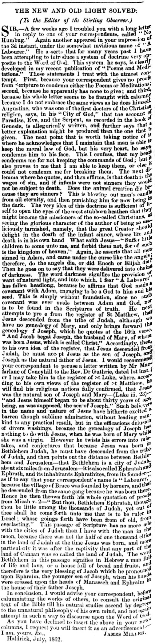 June 1862 'The new and old light solved' - James Miller of Haldrick