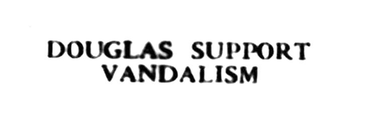 April 1957 - Vandalism - Douglas Support