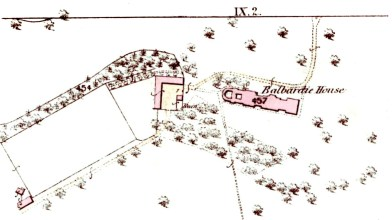 Balbardie House 1852 OS map