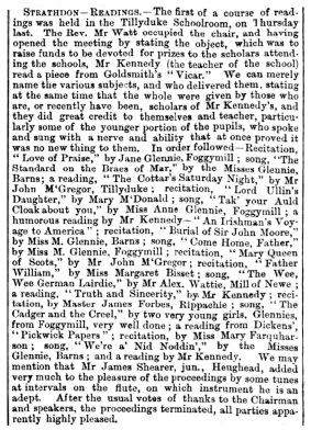Dec 1868 - Tillyduke School - children readings