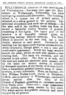 Whitehaugh Mausoleum - Aug 1894 - Alford