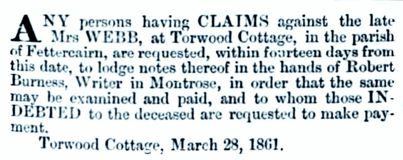 Torwood cottage 1861