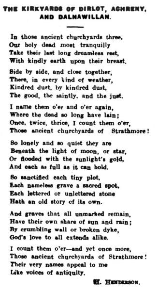 poem Dalnawillan, Strathmore