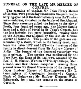 Jan 1891 Funeral of John Henry Mercer