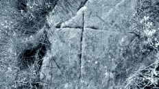 crucifix inscribed on rock near Rosecraig, Strathbraan