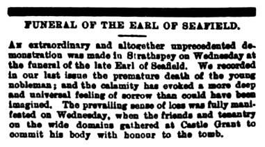 April 1884 Earl of Seafield