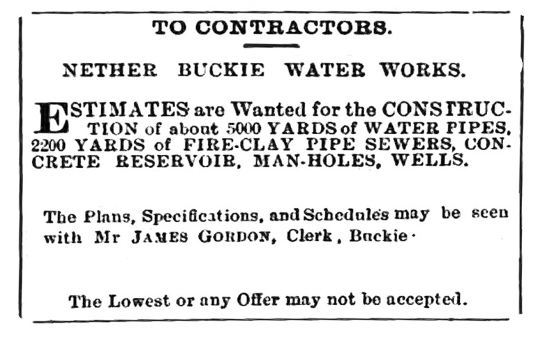 October 1881 Buckie Water Works