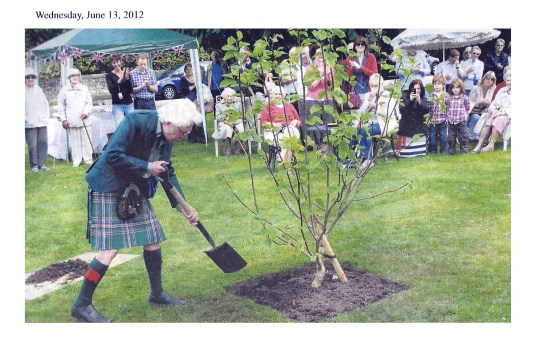 Malcolm Allan plants a tree for the Diamond Jubilee