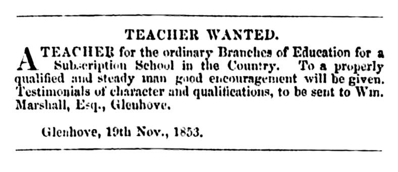 Glenhove 1853 - teacher wanted