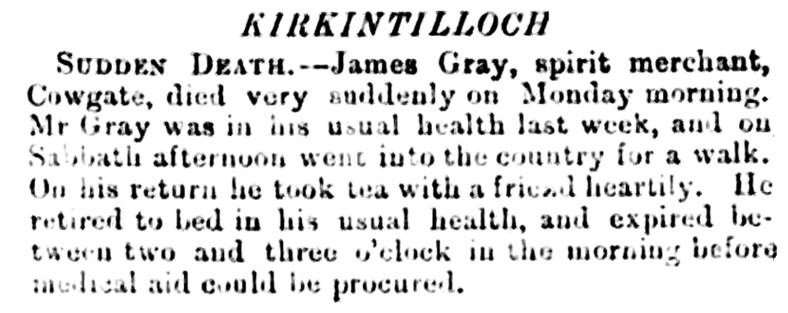 June 1876 sudden death James Gray
