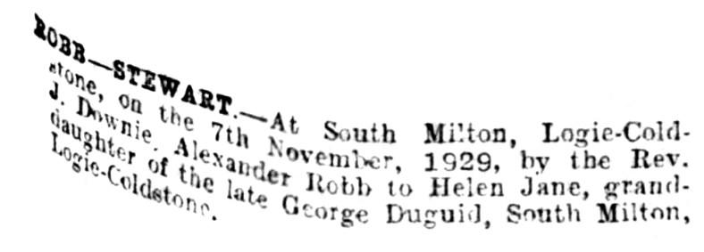 Alexander Robb of South Miton cottage - marriage to Helen Stewart 1929 - Logie Coldstone 2