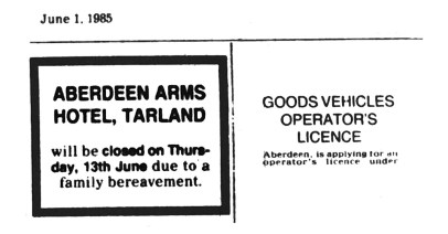June 1985 Aberdeen Arms, Tarland
