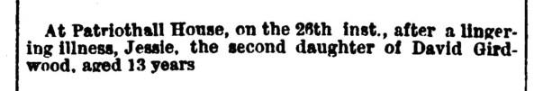 26 June 1873 Patriothall death, Jessie Girdwood
