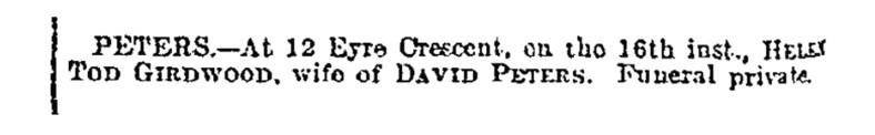 May 1912 Mrs Peters death, 12 Eye Terrace