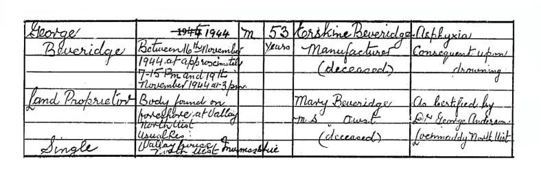 1944 death of George Beveridge, Vallay, North Uist