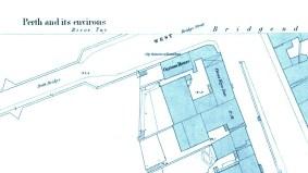 Custom House, 1 West Bridge Street, Perth and Smeaton's Bridge - OS large Scale Town map
