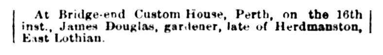 James Douglas, gardener, died Custom House, Perth 1883