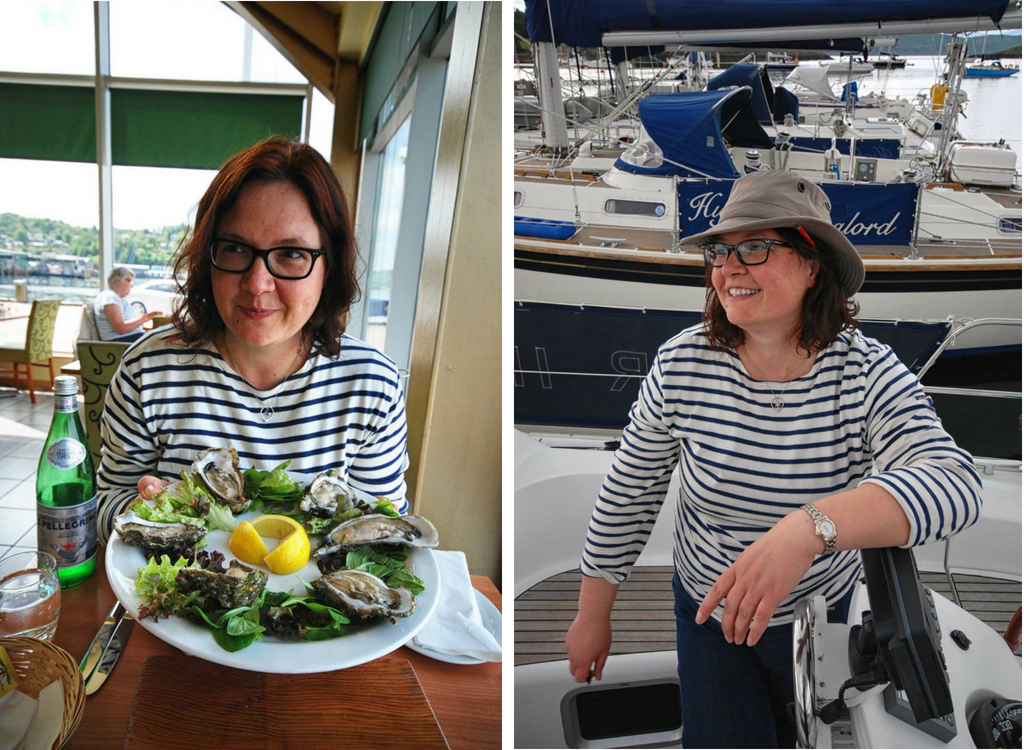 Anja with a plate of oysters and on a boat