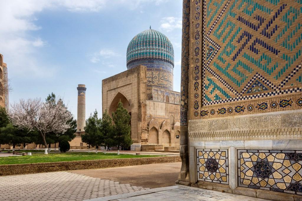 The courtyard of the Bibi Khanym Mosque in Samarkand