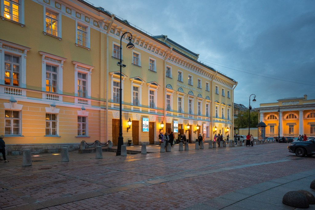 The beautiful plain yellow and white front of the Mikhailovsky Theatre