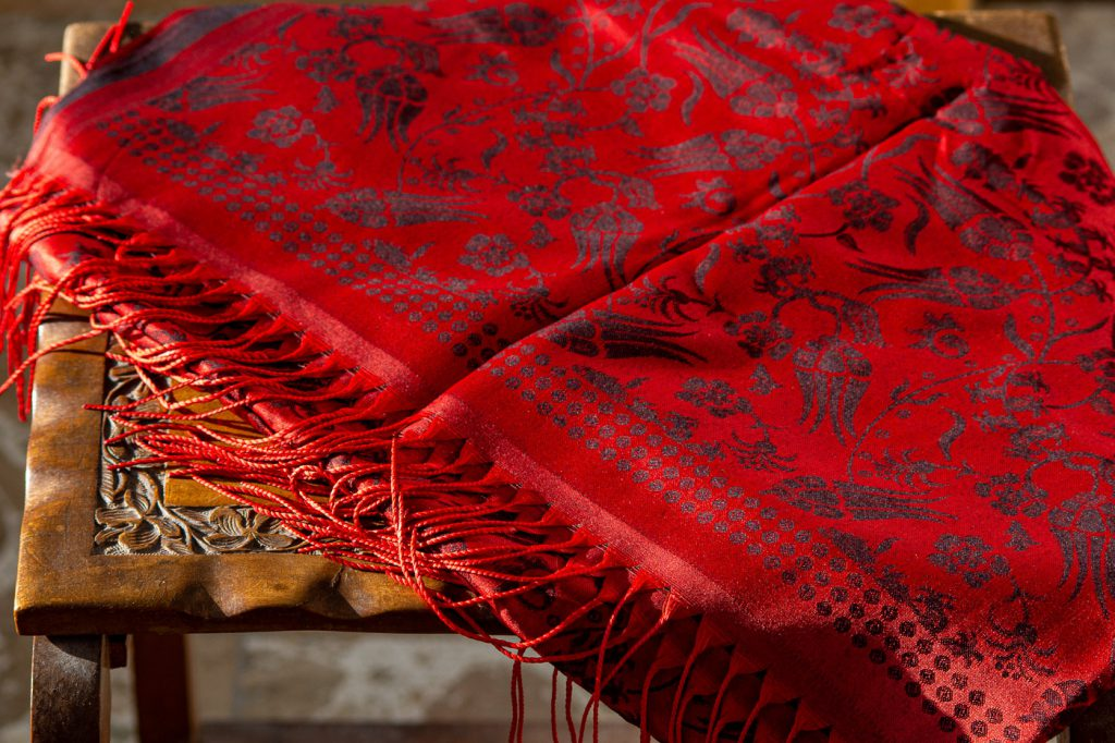 "red ""silk scarf"" with traditional tulip pattern"