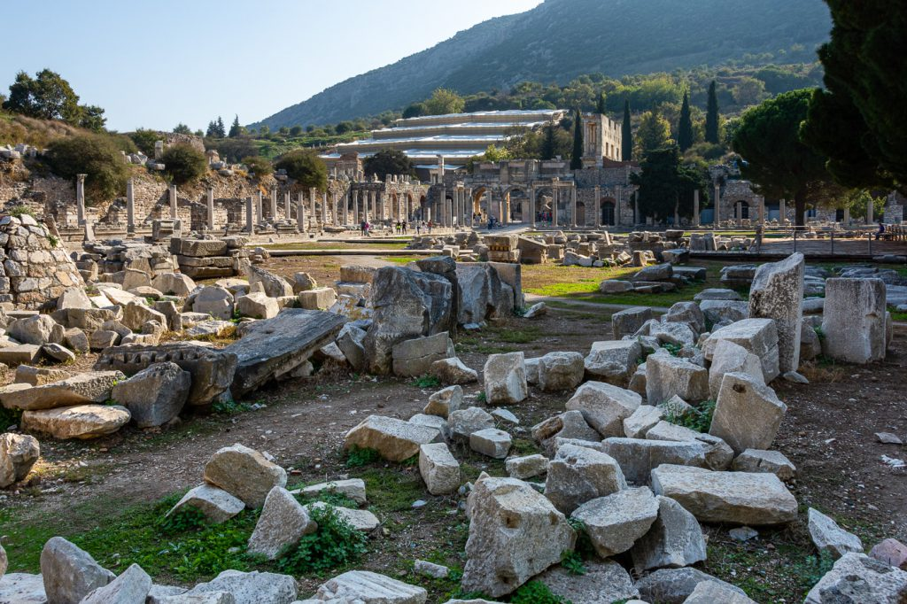 The Lower Agora of Ephesus, with the Terraced Houses and the Library in the background