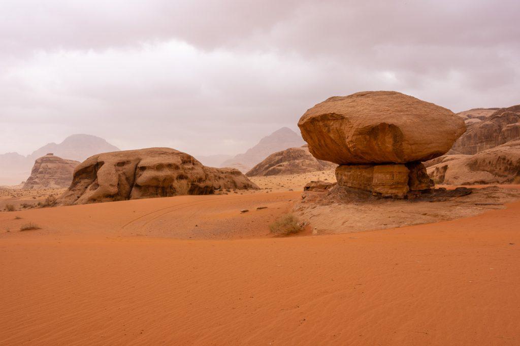 Mushroom Rock in Wadi Rum, Jordan
