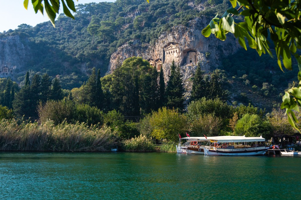 View of Lycian Rock tombs in Dalyan, Turkey, Turkey Aegean road trip