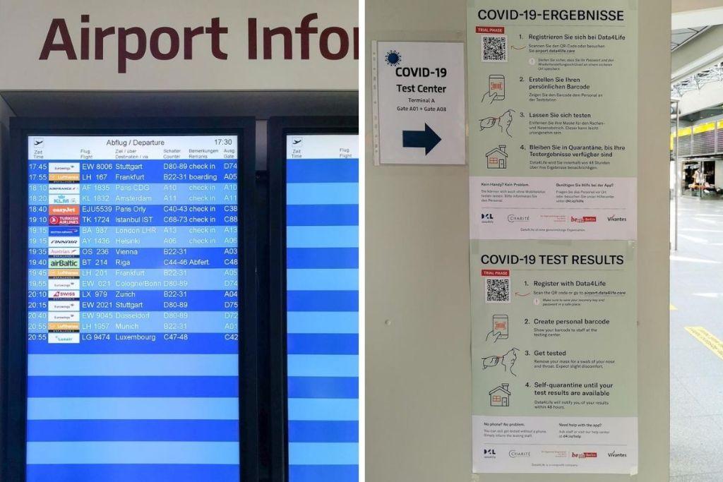 Departure Board and COVID-19 Test centre in Berlin TXL
