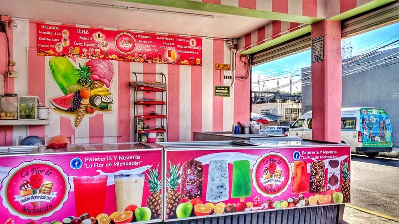 Colourful ice cream stall in PLaya del Carmen