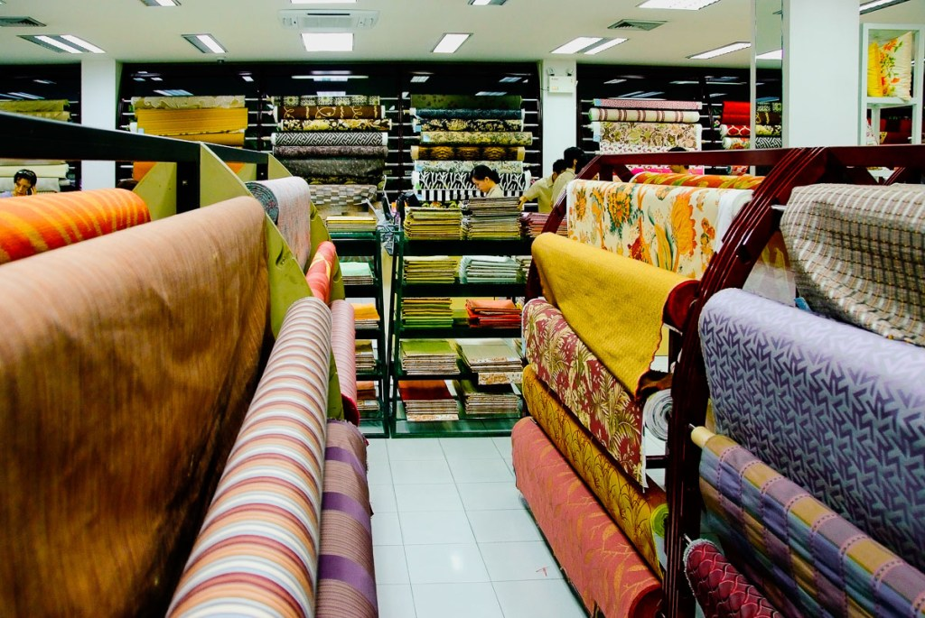 fabrics on rolls at Jim Thompson factory outlet