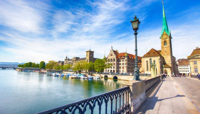 View of historic Zurich city center with famous Fraumunster Church, Limmat river and Zurich lake, Zurich, Switzerland