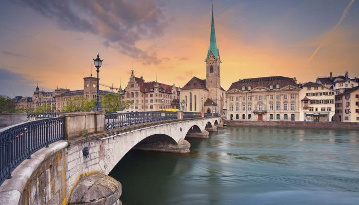 Image of Zurich during dramatic sunrise.