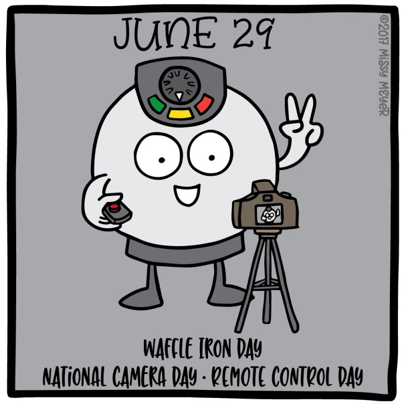 June 29 (every year): Waffle Iron Day; National Camera Day; Remote Control Day