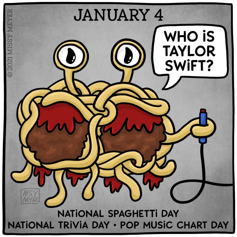 January 4 (every year): National Spaghetti Day; National Trivia Day; Pop Music Chart Day